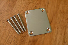 ELECTRIC GUITAR NECK PLATE CHROME FOUR BOLT FOR STRATOCASTER TELECASTER