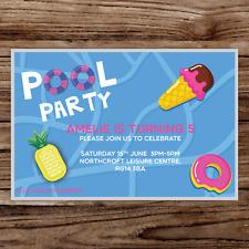 10 *PERSONALISED* invitations POOL PARTY swimming BIRTHDAY invites