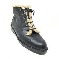Women's Nine West Combat Boots Shoes Size 9.5 Black Leather Faux Fur Lined C2