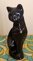 Vintage Standing Black Cat 1970's Made In Taiwan. No Dmaage 11 INCH HIGH