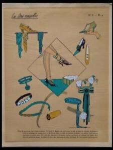 FRENCH ART DECO FASHION, SHOES, ACCESSORIES -1924 POCHOIR PRINT- IDEES NOUVELLES