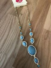 Simulated Turquoise And Rhinestone Silver Plated Chain Statement Necklace #388