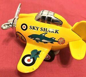 Pull Back Sky Shark Propeller Plane PMT Holdings Yellow Sky Shark Toy Diecast