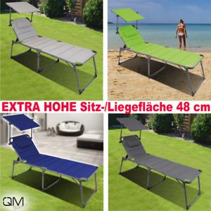QMBasic SONNENLIEGE XXL 48 cm Hoch | Sonnendach Alu Garten-Liege gepolstert