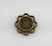 50PCS Antiqued Bronze 10mm Round Cabochon Settings Blank Flower Flatbacks #23170