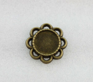 50PCS Antiqued Bronze 10mm Round Cabochon Settings Blank Flower Flatbacks #23170