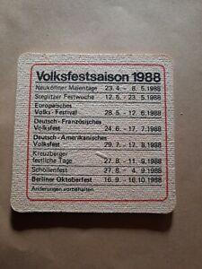 Bierdeckel 1988 - Volksfestsaison - Schultheiss