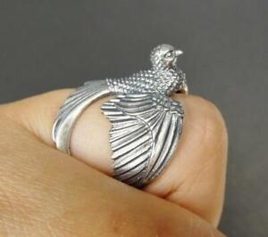 Unique 925 Sterling Silver Detailed Open Wing Bird Swallow Wrap Ring Adjustable
