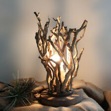 Rustic Handmade Tree Branches Bedside Table Lamp with Wooden Base 110V Home Deco