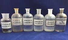 6 Vintage Glass Laboratory Apothecary Chemistry Bottles