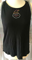 H&M Damen Top Shirt Gr L schwarz mit Strass lustiges Motiv Bling Bling WOW