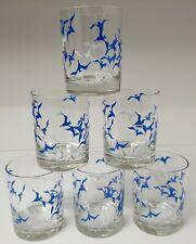Rare Set 6 George Briard, Blue & White Seagull Rocks Glasses. Mint Condition!