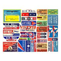 Air Mail Label Stickers, REPRODUCTION Stationary & Travel Journal Tags, 1 Sheet