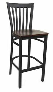 Metal Restaurant Barstool With Wood Seat Welded frame