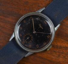 Vintage LONGEAU by ENICAR Black Dial Gild Fixed Lug WWII Era Men's Watch