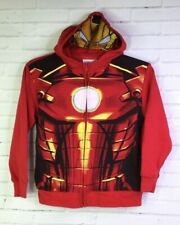 Marvel Boys Size M Superhero Iron Man Zip Hooded Hoodie Face Sweater Sweatshirt