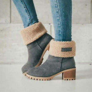 Women's Suede Snow Boots Heeled Shoes Fur Lined High Top Winter Warmer Anti-Slip