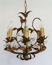 Antique White Porcelain Roses Gilt Gold Italian Chandelier Beautiful