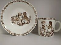 Vintage Alfred Meakin England Child's Cup and Cereal Bowl  Flowers