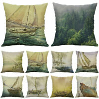Sailing Pattern Cotton Linen Pillow Case Sofa Cushion Cover Home Decor Pillows