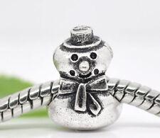 NEW Silver Christmas Xmas Snowman Charm Beads Fit Most European Charm Bracelet