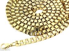 "Mens 36"" Inch Stainless Steel 3mm Hip-Hop Box Chain Necklace Gold,Rhodium,Gun"