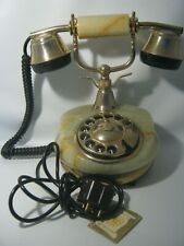 Vintage 1970's Marble Onix Ricci Paolo Gold Plated Rotary Telephone From Italy