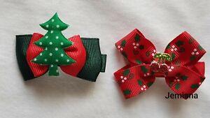 Jemlana's handmade dog,cat,pet grooming Christmas bows (for 2 bows)