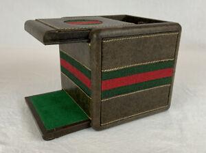 Authentic VTG 1979 Gucci Signature Red/Green Stripe Empty Game Storage Cube Box
