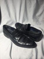 ERMENEGILDO ZEGNA Black Leather Moc Toe Penny Loafer Dress Shoes EU 9 - US 10
