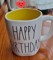 "Rae Dunn ""Happy Birthday "" Ceramic Coffee Mug. White With Yellow Interior"
