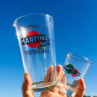 🔴 Set bicchierone mixer shaker + misurino MARTINI in vetro orig anni 60
