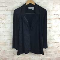 Chico's Travelers Womens Black Lace Cardigan Top Size 3 XL