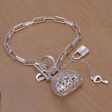 925 Stamped Sterling Silver Filled SF Filigree Bag Pendant Bracelet BL-A286