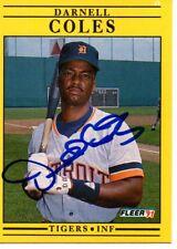 Darnell Coles Detroit Tigers 1991 Fleer Signed Card
