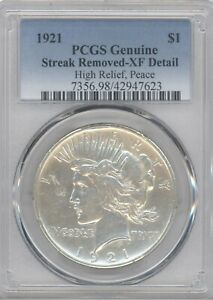 1921 PCGS XF DETAIL HIGH RELIEF PEACE SILVER DOLLAR