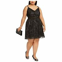 MSRP $89 City Studio Womens Plus Sequined Skater Cocktail Dress Silver Size 18W