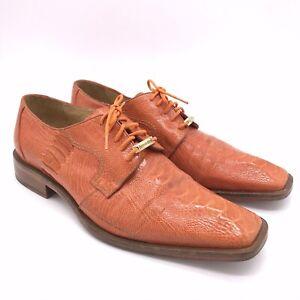 BELVEDERE Siena Ostrich Orange Lace Up Derby Dress Shoes Mens Size 8