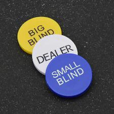 3pcs Big Blind Small Blind Dealer Button Poker Chips Texas hold'em Buttons