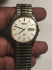 Nice Men's Dual Tone Seiko 5Y23-8049 Analog Watch With Day And Date Feature