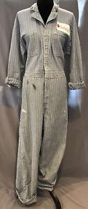 Vintage RED KAP Coveralls Blue Herringbone Boiler Suit Work Men's Size 44 Reg