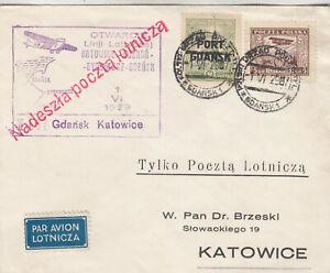 Briefe Belege Erstflugbrief Port Gdańsk- Katowice vom 1.6.1929, Otwarcie Danzig