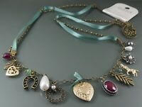 OASIS STATEMENT NECKLACE MULTIPLE ANTIQUE BRONZE CHARM PENDANTS TICKET PRICE £14
