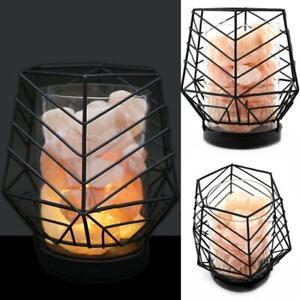Black Wired Geometric Basket Himalayan LED Natural Healing Salt Rock Lamp Light