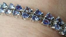 12+Ct Natural Tanzanite Tennis Bracelet / Genuine Tanzanite Double Line Bracelet