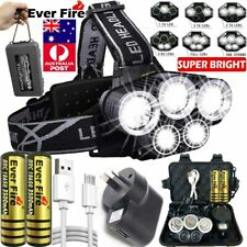 350000LM 5X CREE T6 LED Headlamp Headlight Head Torch Rechargeable Flashlight