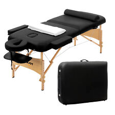 "84""L Fold Portable Massage Table Facial Spa Bed Tattoo with Headrest, Bag Black"