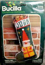 """Vtg Bucilla Christmas Heirloom """"Santa's Gift"""" 19"""" Crochet Stocking Kit Sealed"""