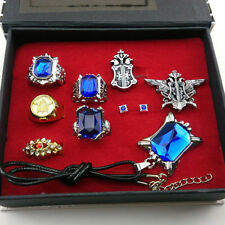 9pcs/set Black butler Kuroshitsuji Ciel Phantomhive Rings+ Necklace+ Badge Pin