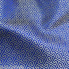 ROYAL BLUE SILVER WIND SWIRL BROCADE FAUX SILK SHANTUNG FABRIC DRESS DRAPE CRAFT